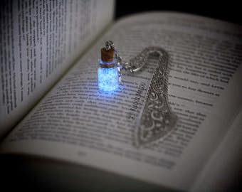 Bookmark Glow in the Dark and Glitter Bottle on Metal Silver Tone Glow in the Dark Fairydust  Bookmark