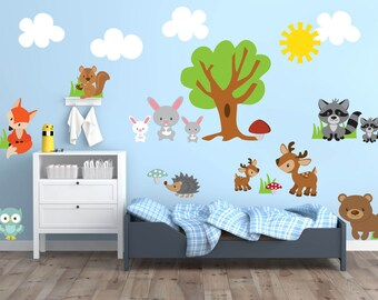 Woodland Theme Nursery Decor, Woodland Animal Wall Decals, Woodland Wall Decal, Animal Nursery Wall Decals, Woodland Animal Wall Art