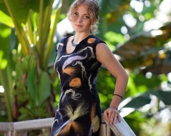 Nuno felted dress small black dress silk wool dress knee length dress women size 38 dress multicolor nuno felt dress FIREFLIES IN JUNGLE