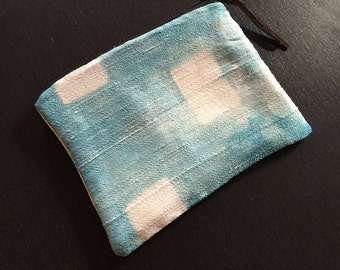 Large Indigo Dyed Duponi Silk Zipperd Pouch