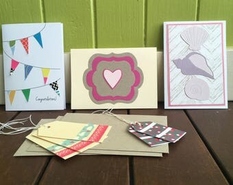 Greeting Card & Gift Tag Set, Mixed Cards, Congratulations Card, On Sale, Shell Card, Bunting Card, Washi Tape Gift Tags, Assorted Cards