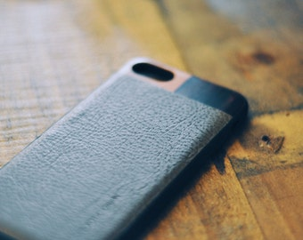 Grey Leather iPhone 7 Case with Cherry and Bois De Rose Wood Case