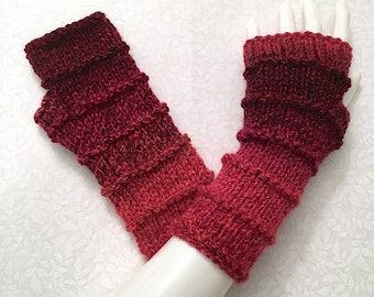 Knit Fingerless Gloves, Red Hand Warmers, Fingerless Mitts_Mixed Berries (Reds)_Purled Bands Design