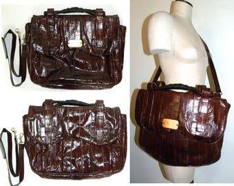 Vintage EEL SKIN Briefcase / messenger bag / attaché /  Burgundy / Wine / soft side monogram / Luxe