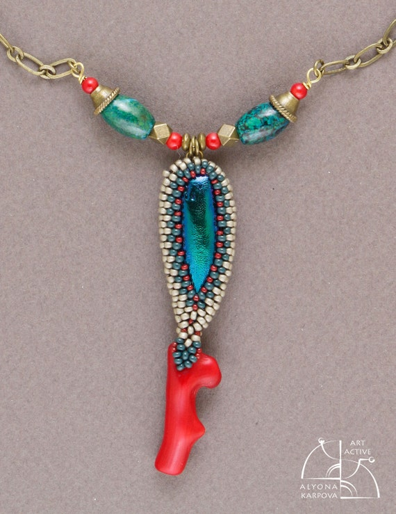 Coral and buprestids. Bright jewelry set. Long necklace and chrysocolla earrings. Vintage boho style. lovely gift for her