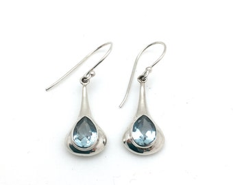 Sterling Silver Dangling Blue Topaz Teardrop Earrings