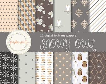 Winter Snowy Owl digital paper for Scrapbooking