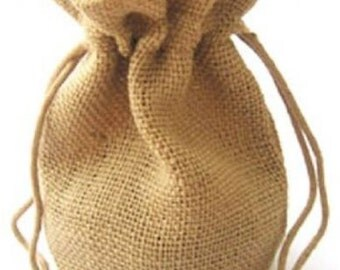 JUTE HESSIAN bags - small jute gift bag 10cmx15cm - NATURAL hessian color