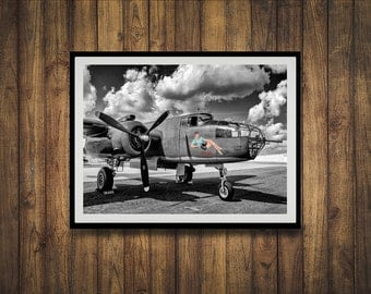 Black &White photograph of a WWII B-25 bomber plane.