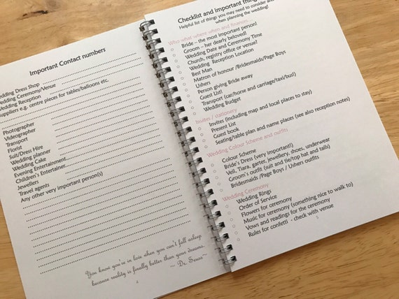 A5 Mother Of The Bride Notebook Wedding Planner Journal Guide