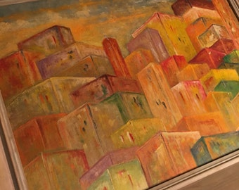 Original Vintage Mid Century Signed Oil on Board Painting of a Cubist City by E. W. Nilsson (1959)