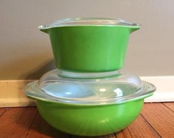 Bright Lime Green Pyrex Set