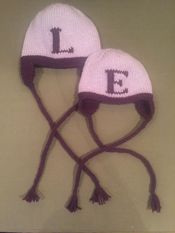 Hand-Knit Baby/Child Letter Hat with earflaps