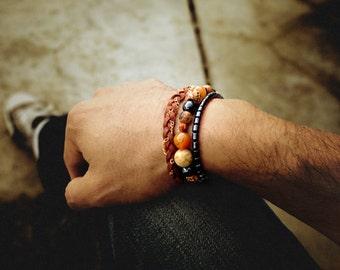 Gem and Mineral Bracelet | Jasper | Hematite | Tiger Eye | Boho | Healing Stones | Beaded Bracelet | Sigrid Anne Design