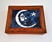 Jerry Moon Unique Stained Glass Mosaic Box, Grateful Dead Decor, Grateful Dead Art, Deadhead, Hippy Decor, Small Wood Box, Stash Box