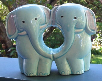 Vintage Ceramic Elephant Salt and Pepper Shakers  Novelty China Shakers 1970s Made in Japan Unusual Design - joined shakers Elephant pair