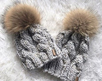 Chunky Knit Cable Hat with Fur Pom Mommy + Me Set | Grey | THE TRECCIA