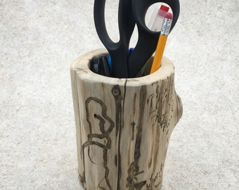 Rustic Log Wooden Pencil Cup - Large Pencil Holder