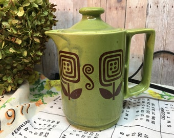 Vintage Electric Teapot/Ironstone/Green & Brown/Flowers
