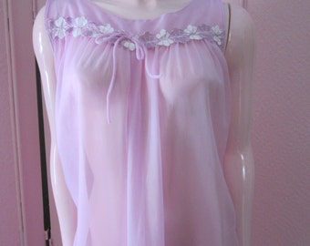 1960s Sheer Lavender Nylon Nightgown and Matching Robe, Size S