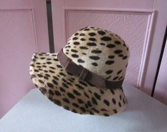 "1960s Leopard Velour Floppy Brim Hat by ""Mr. John Classics, Paris, New York"""