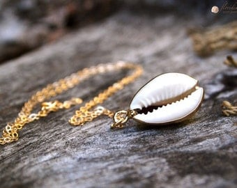 White Cowrie Sea Shell Necklace 14k