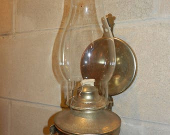 Wall Mounted Oil Lamp, Removeable from wall  Bracket With Glass Chimney