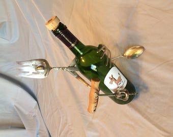 Wine Bottle holder with corkscrew