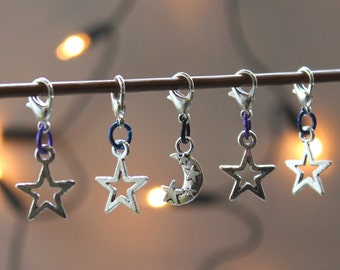 NIGHT SKY knitting stitch markers or progress keepers.