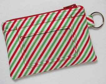 Limited Quantity! Christmas / Candy Stripe / Candy Cane Keychain ID Wallet Student, Teacher, Work ID, Badge Holder - 2 Options for ID Pocket