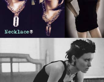 Lisbeth Salander Neckless with Tank top,tank tops,razor blade necklace,chokers,chains,rooney mara,the girl with the dragon tattoo,jewelry