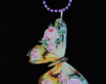 Purple Butterfly Wood Pendant Necklace