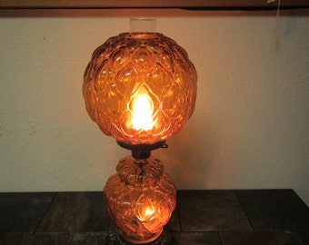 Amber Glass Globe And Brass Lamp With Clear Glass Chimney, Upper And Lower  Lites,