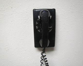 Western Electric Bell Systems Black Wall Phone, Rotary Phone, Wall phone ,  Telephone, Phone , Land Line phone, 1960s or 70s phone