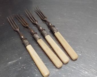 4 Vintage Bone Handled Forks Victorian.