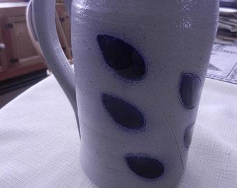 Stoneware Mug - gray with cobalt colored leaf pattern