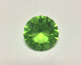 Helenite, Bright Lime Green Faceted Gemstone, Round Brilliant Gemstone, .45 CTW