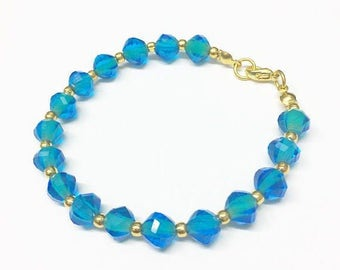 Cerulean Blue Glass Bracelet