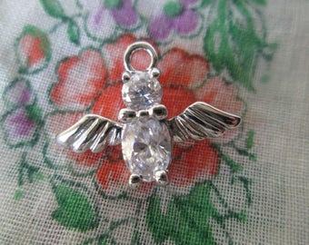 Vintage Owl Charm, Silver Tone Rhinestone Owl Pendant