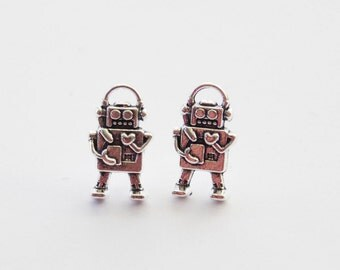 Robot Earrings, Robot Stud Earrings, Robot Jewelry, 3D Robot Charms, Geek Earrings, Sci-fi Robot Earrings, Nerd Earrings, Silver Robot studs