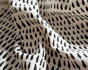Brushstroke Fabric / Black -  Hand screen printed Organic Hemp / Cotton blend