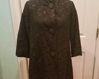 Vintage 60's Black Brocade Light Coat