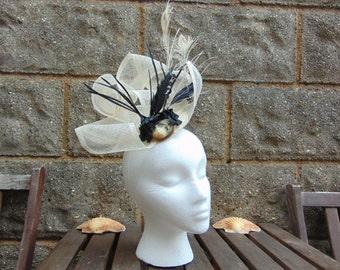 Bridal, Ascot, Victorian or Vintage style headdress, headpiece, fasciator