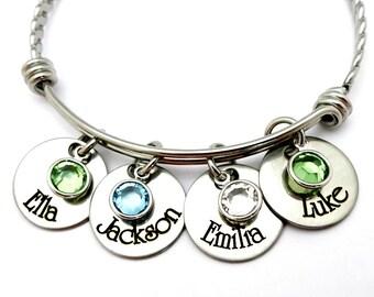 Brag Bracelet or Necklace for Mom Grandma Godmother - Personalized Names Birthstones - Mom Grandma  Christmas