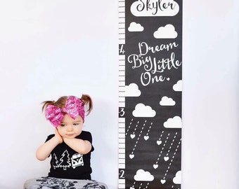 Monochrome Personalized Dream Big Growth Chart; Height Chart, Dream Big Little One, Stars, Clouds, Children's Wall Art, Baby Gift, Newborn