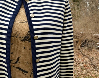 "Vintage Nautical ""BUTTE KNIT"" STRIPED Cardigan Sweater, Size S, c. 1970's"
