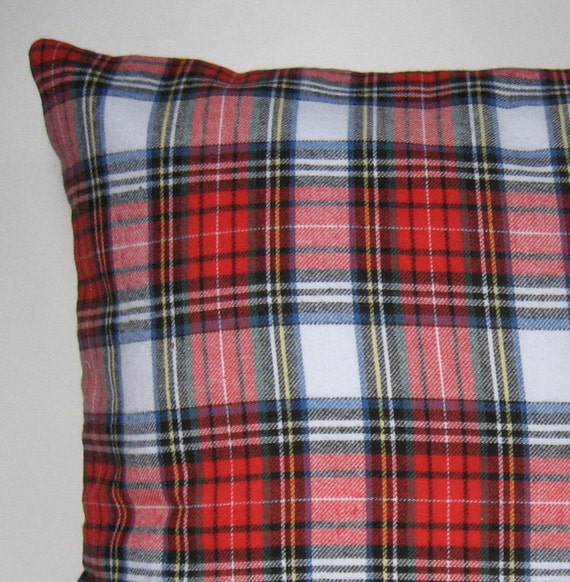 Red Plaid Throw Pillow Cover : Items similar to Plaid Flannel Pillow Cover, Throw Pillow, Flannel, Glen Plaid, Winter Pillow ...