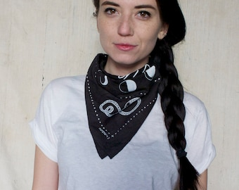 """Hand dyed and hand screenprinted 100% cotton bandana """"make it count"""" black"""