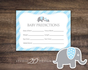 Instant Download Blue Elephant Prediction for Baby Cards, Printable Blue Elephant Predictions, Baby Boy Elephant Baby Shower Games 22C
