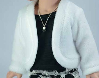 JACKET Cardigan Sweater in White Fleece LEGGINGS Pants Tank Top Necklace and SHOES Option for American Girl or 18 inch doll